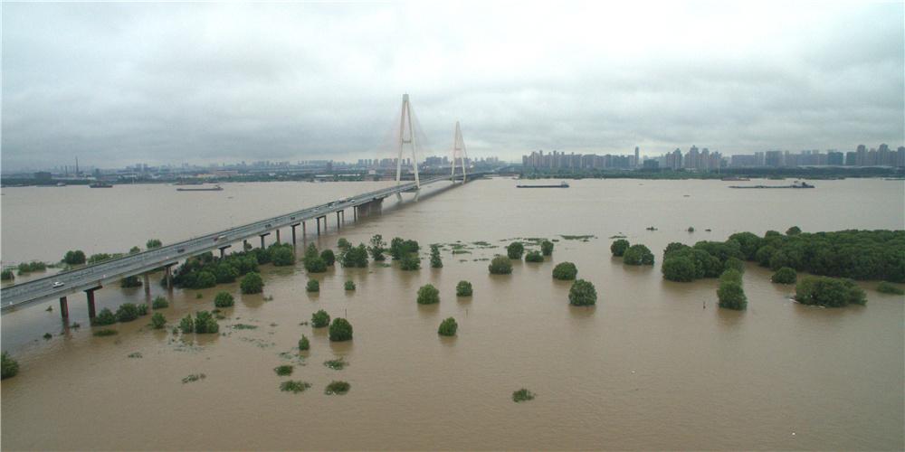 新華網航拍:武漢白沙洲被長江江水淹沒