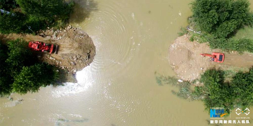新華網航拍:湖北麻城特大暴雨救援現場