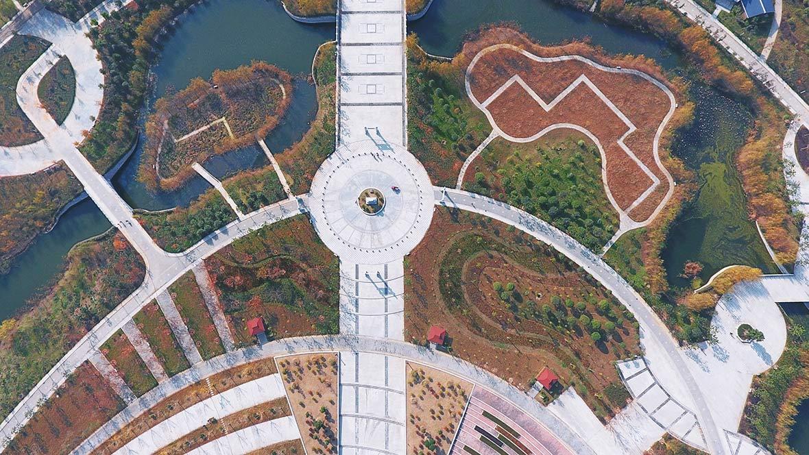航拍漢江流域第一家國家級濕地公園——谷城漢江國家濕地公園