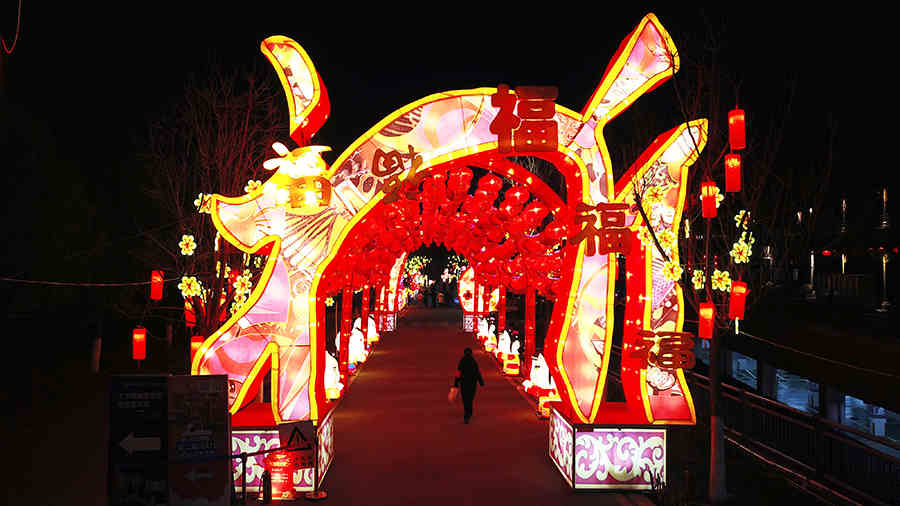航拍武漢園博園燈會