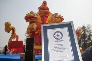 """東湖燈會""""雄獅賀歲""""燈組成為世界上最高的燈組"""