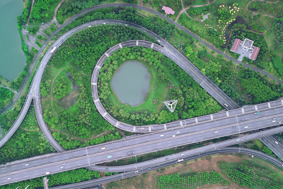 煤灰山變身濕地公園 航拍武漢青山戴家湖公園