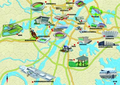 建筑戴军帽 高校学子手绘军运场馆地图创意十足