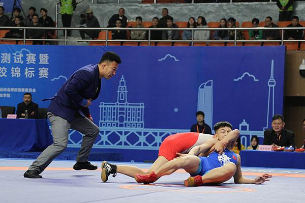 第七屆軍運會首場測試賽在摔跤場館舉行