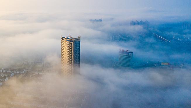 鳥瞰湖北崇陽平流霧景觀