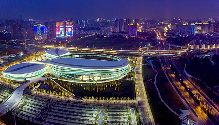 航拍武漢五環體育中心