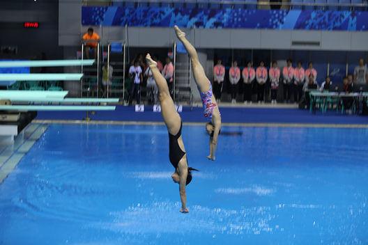 軍運會跳水測試賽在武漢體育中心舉行