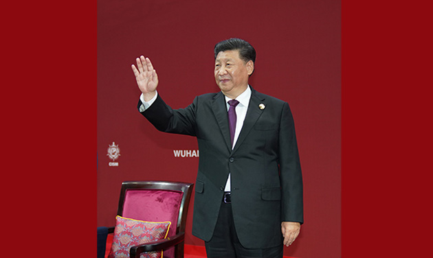 習近平出席第七屆世界軍人運動會開幕式並宣布運動會開幕