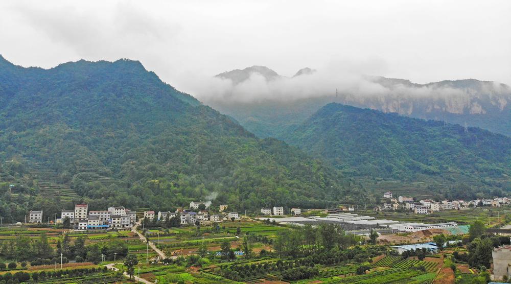 鳥瞰(kan)湖北秭歸建東(dong)村 山巒蔥蘢風(feng)光美