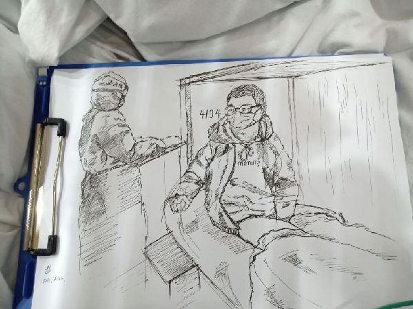 武漢高三學生將方艙醫院溫暖的瞬間畫成了素描