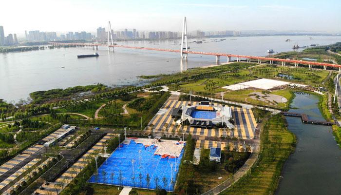 漢陽江灘沙灘排球中心全景