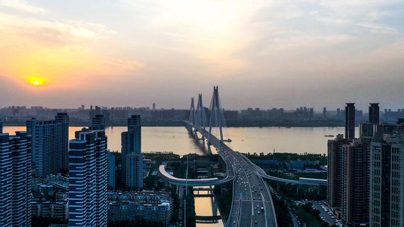 延時航拍——武漢二七長江大橋