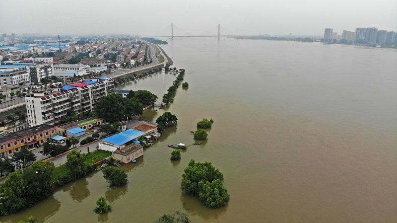 航拍長江湖北黃岡段水位全線超警/圖