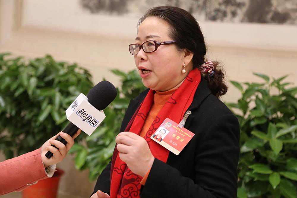 政协湖北省第十二届委员会第一次会议23日在武汉开幕,图为参会委员接受媒体采访。新华网 连迅摄