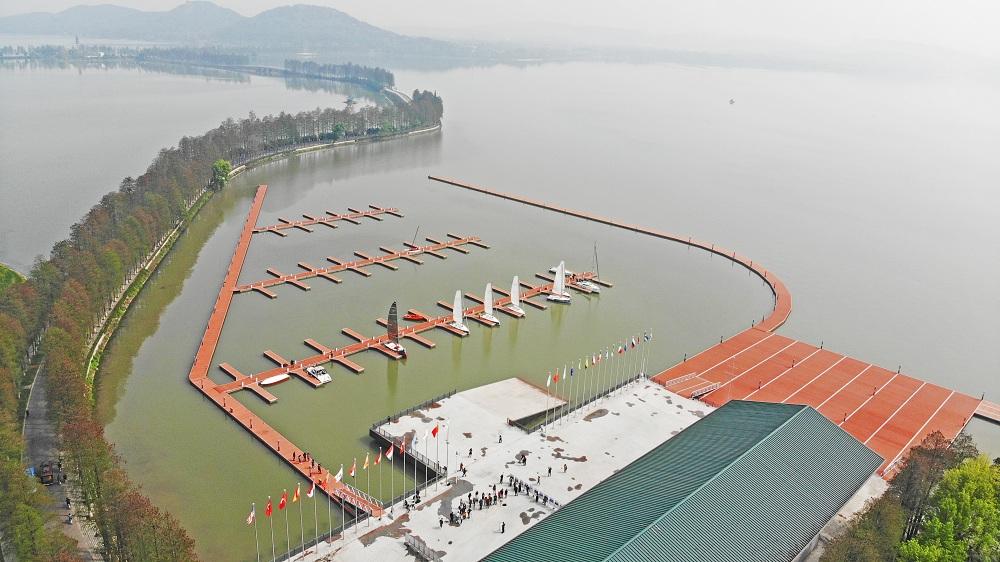 航拍军运会帆船比赛基地 感受水上激情